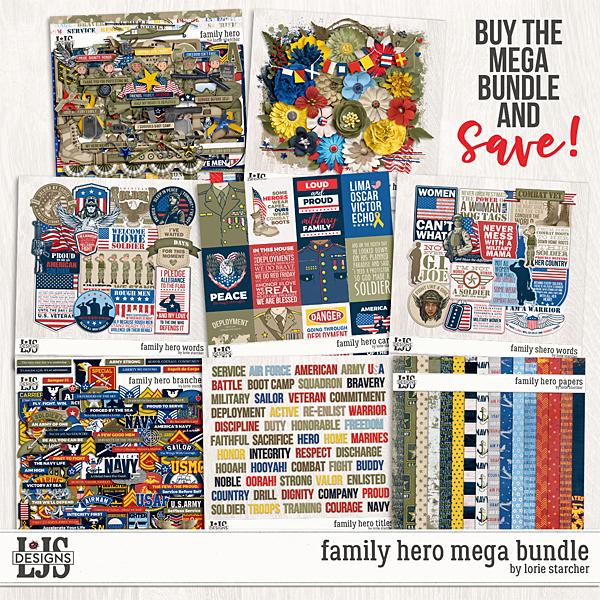 Family Hero Mega Bundle Digital Art - Digital Scrapbooking Kits