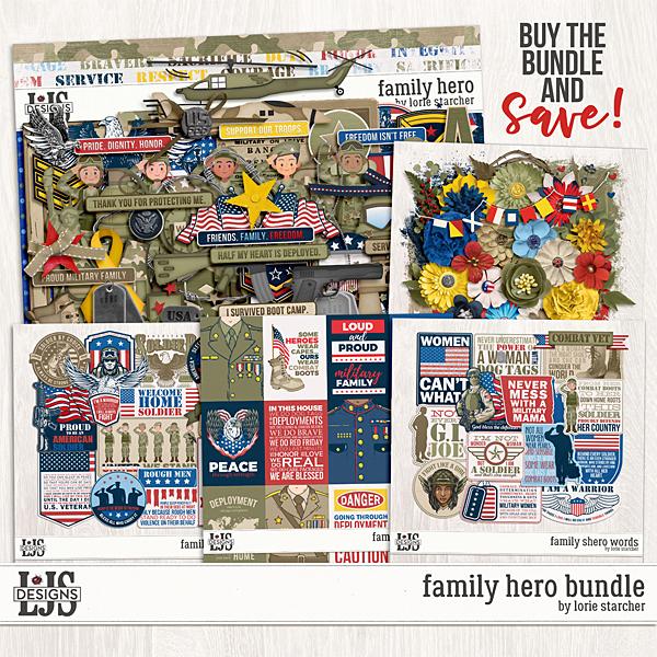 Family Hero Bundle Digital Art - Digital Scrapbooking Kits