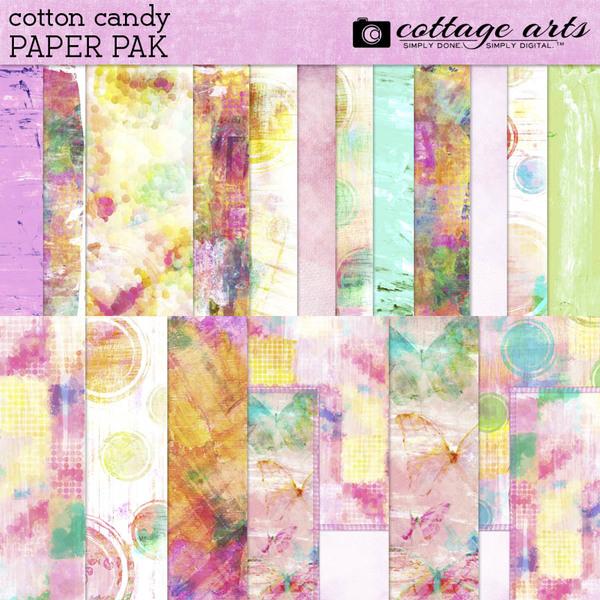 Cotton Candy Paper Pak Digital Art - Digital Scrapbooking Kits