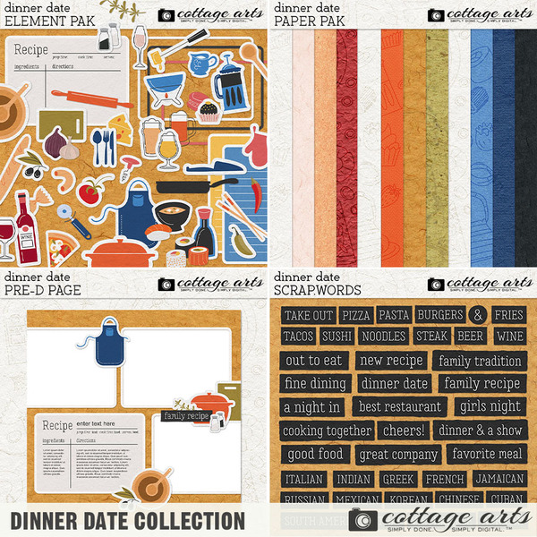 Dinner Date Collection Digital Art - Digital Scrapbooking Kits