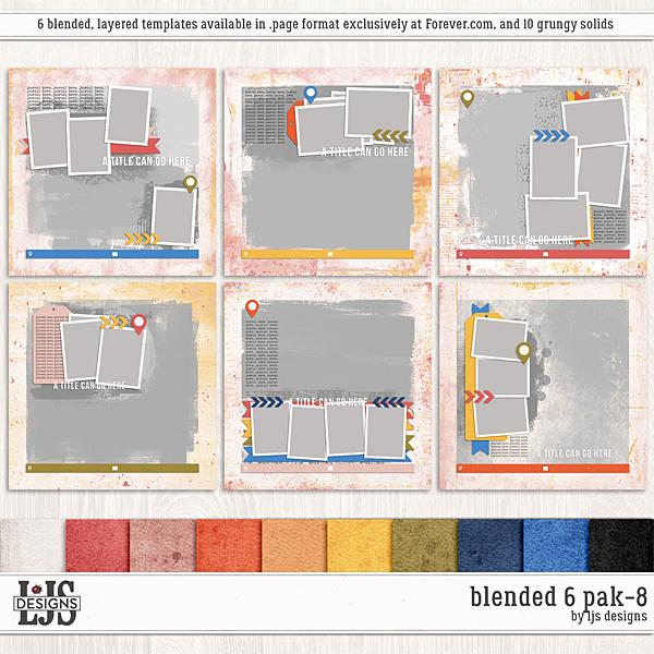 Blended 6 Pak 8 Digital Art - Digital Scrapbooking Kits