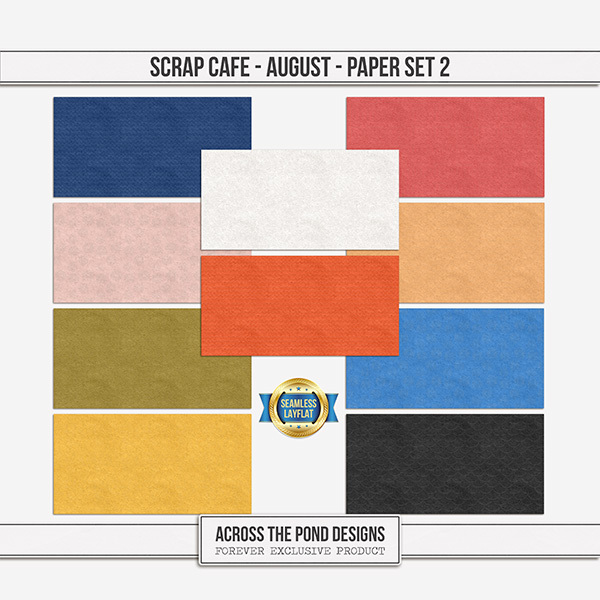 Scrap Cafe - August 2021 - Paper Set 2 Digital Art - Digital Scrapbooking Kits