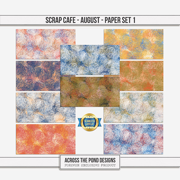 Scrap Cafe - August 2021 - Paper Set 1 Digital Art - Digital Scrapbooking Kits