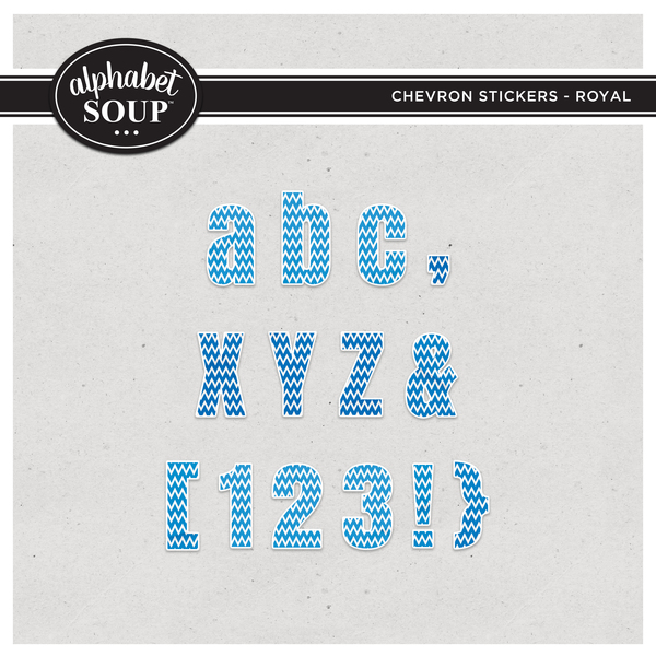 Chevron Stickers Alpha - Royal Digital Art - Digital Scrapbooking Kits