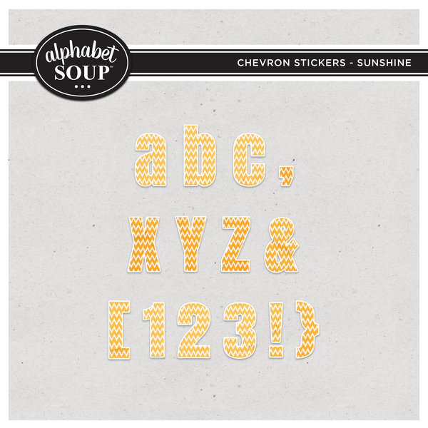 Chevron Stickers Alpha - Sunshine Digital Art - Digital Scrapbooking Kits