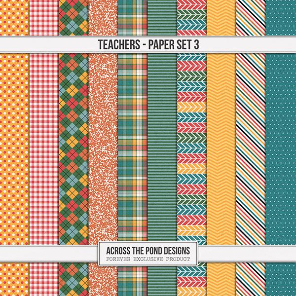 Teachers - Paper Set 3 Digital Art - Digital Scrapbooking Kits