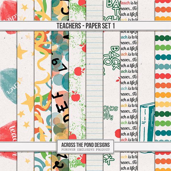 Teachers - Paper Set 1 Digital Art - Digital Scrapbooking Kits