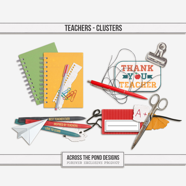 Teachers - Clusters Digital Art - Digital Scrapbooking Kits