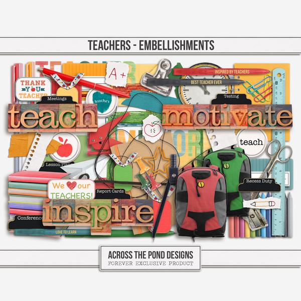 Teachers - Embellishments Digital Art - Digital Scrapbooking Kits