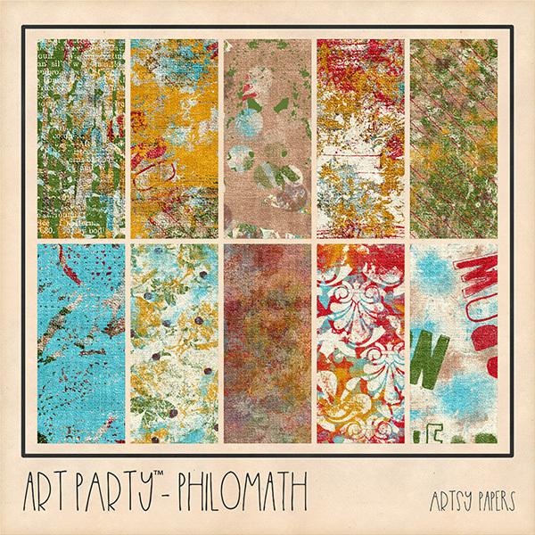 Philomath Artsy Papers Digital Art - Digital Scrapbooking Kits