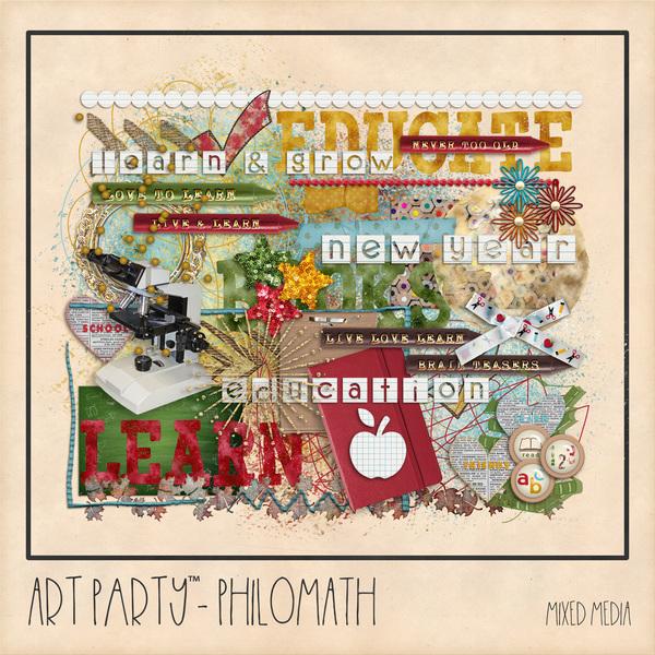 Philomath Mixed Media Embellishments Digital Art - Digital Scrapbooking Kits