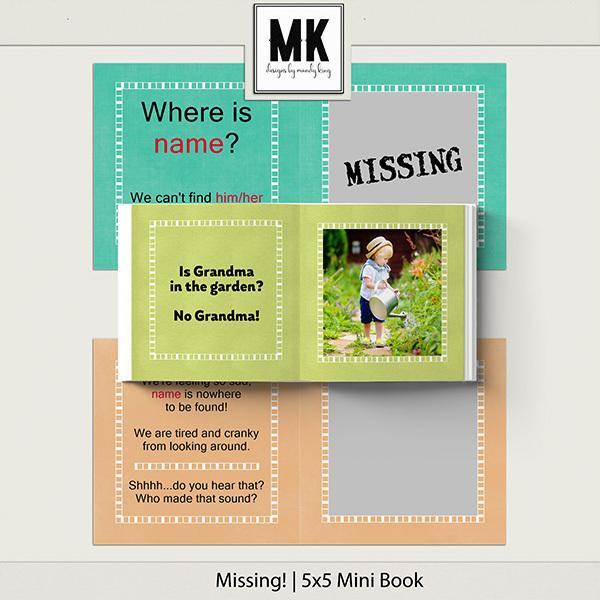MISSING! 5x5 Mini Book Digital Art - Digital Scrapbooking Kits