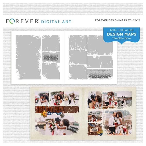 Forever Design Maps 57 - 12x12 Digital Art - Digital Scrapbooking Kits