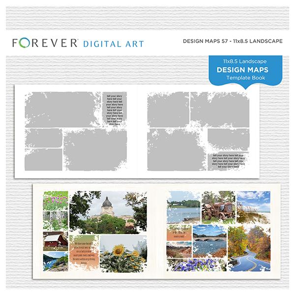 Forever Design Maps 57 - 11x8.5 Digital Art - Digital Scrapbooking Kits