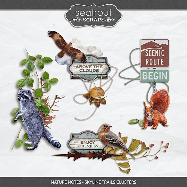 Nature Notes - Skyline Trails Clusters Digital Art - Digital Scrapbooking Kits