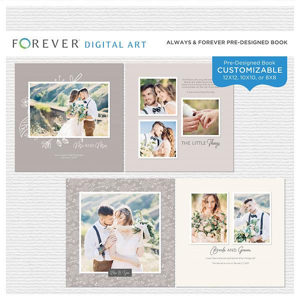 Always & Forever Pre-Designed Book Digital Art - Digital Scrapbooking Kits