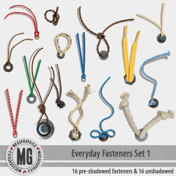 Everyday Fasteners Digital Art - Digital Scrapbooking Kits