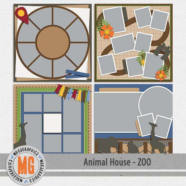 Animal House - Zoo Templates Digital Art - Digital Scrapbooking Kits
