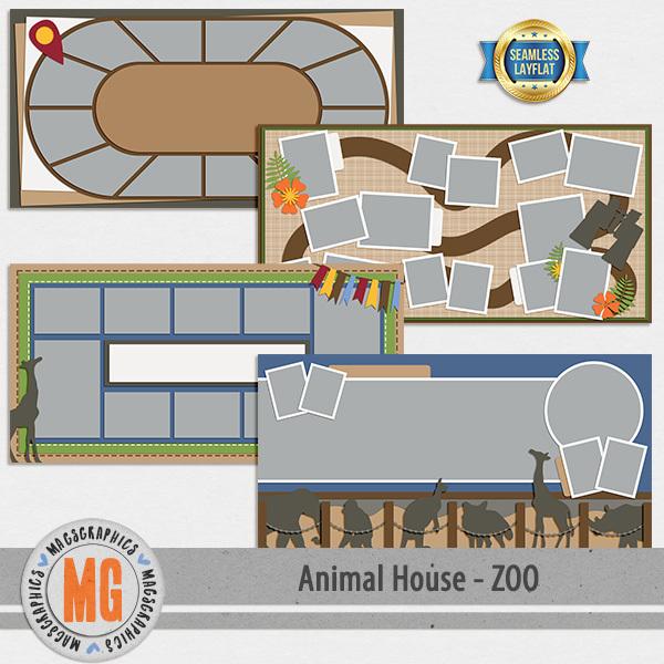 Animal House - Zoo SLF Templates Digital Art - Digital Scrapbooking Kits