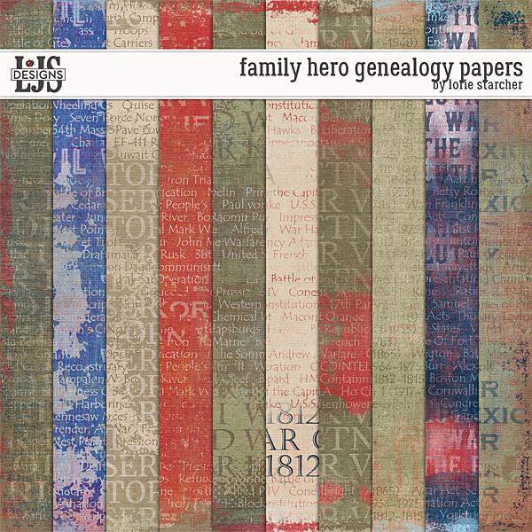 Family Hero Genealogy Papers Digital Art - Digital Scrapbooking Kits