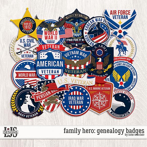Family Hero Genealogy Badges Digital Art - Digital Scrapbooking Kits