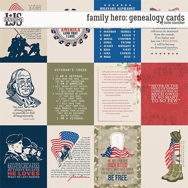 Family Hero Geneaolgy Cards Digital Art - Digital Scrapbooking Kits