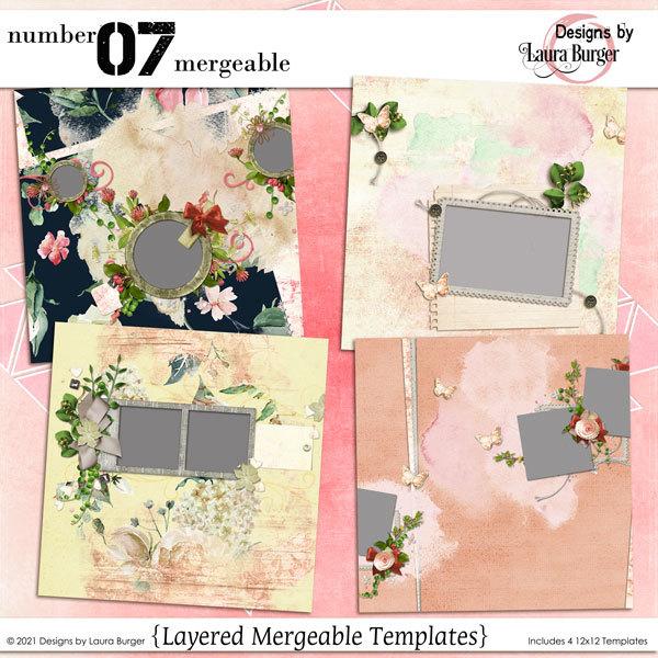 Number 07 Mergeable Template Bundle Digital Art - Digital Scrapbooking Kits