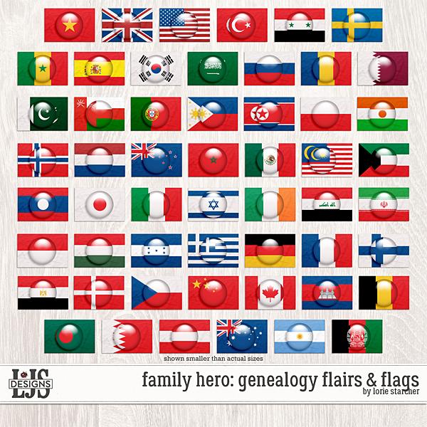 Family Hero Genealogy Flairs & Flags Digital Art - Digital Scrapbooking Kits