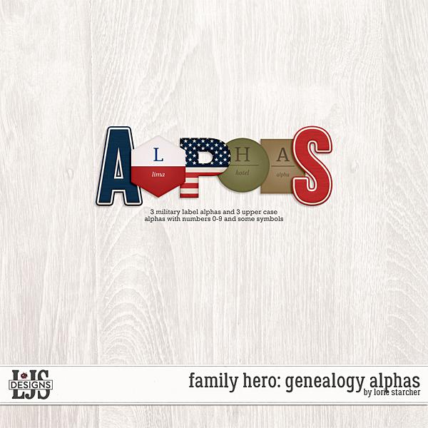 Family Hero Genealogy Alphas Digital Art - Digital Scrapbooking Kits