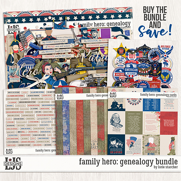 Family Hero Genealogy Bundle Digital Art - Digital Scrapbooking Kits