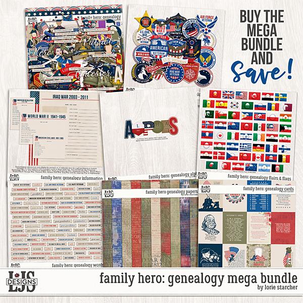 Family Hero Genealogy Mega Bundle Digital Art - Digital Scrapbooking Kits