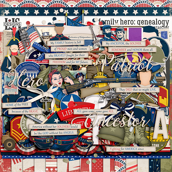 Family Hero Genealogy Digital Art - Digital Scrapbooking Kits