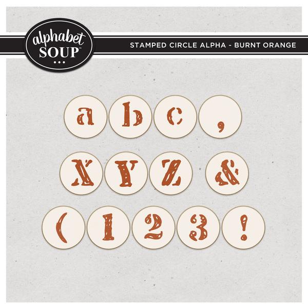 Stamped Circle Alpha - Burnt Orange Digital Art - Digital Scrapbooking Kits