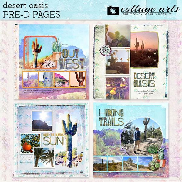 Desert Oasis Pre-designed Pages Digital Art - Digital Scrapbooking Kits