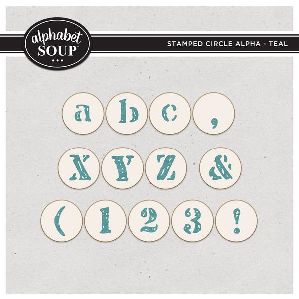 Stamped Circle Alpha - Teal Digital Art - Digital Scrapbooking Kits