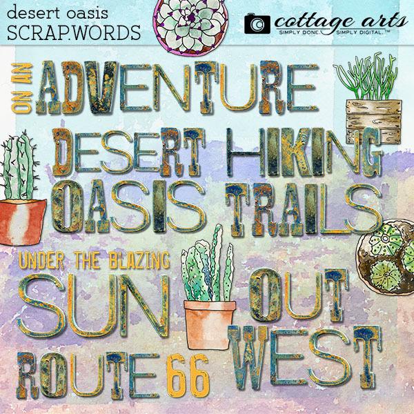 Desert Oasis Scrap.Words Digital Art - Digital Scrapbooking Kits