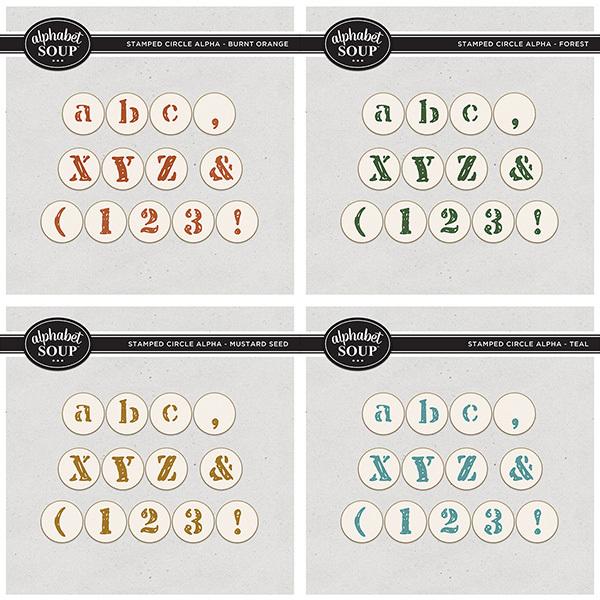 Stamped Circle Alpha Bundle Digital Art - Digital Scrapbooking Kits