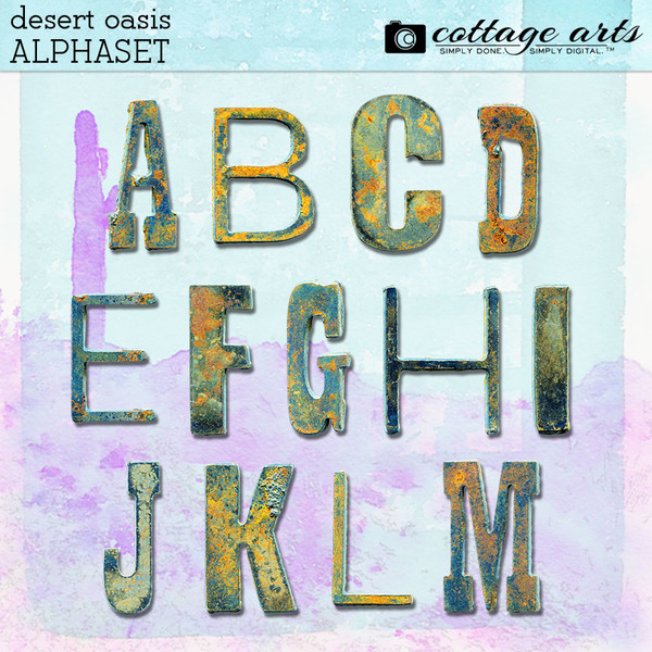 Desert Oasis AlphaSet Digital Art - Digital Scrapbooking Kits