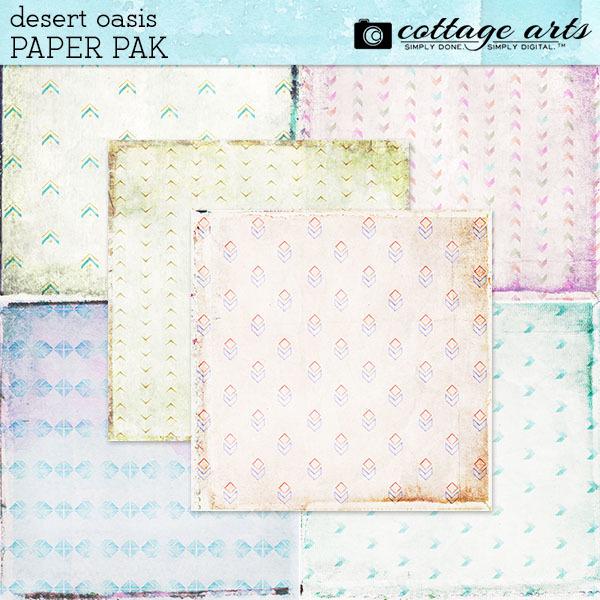 Desert Oasis Paper Pak Digital Art - Digital Scrapbooking Kits