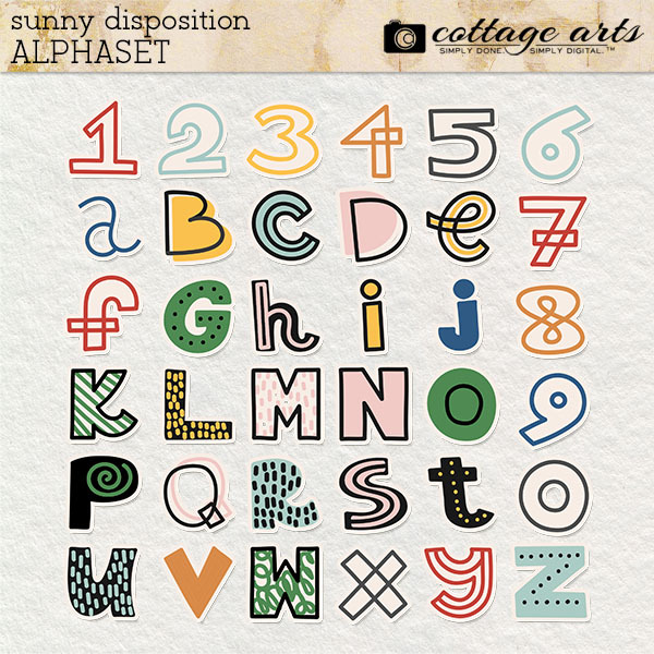 Sunny Disposition AlphaSet Digital Art - Digital Scrapbooking Kits
