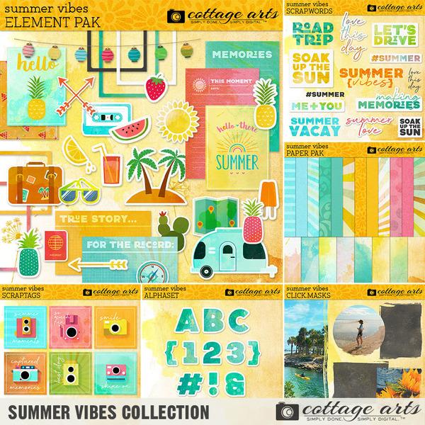 Summer Vibes Collection Digital Art - Digital Scrapbooking Kits