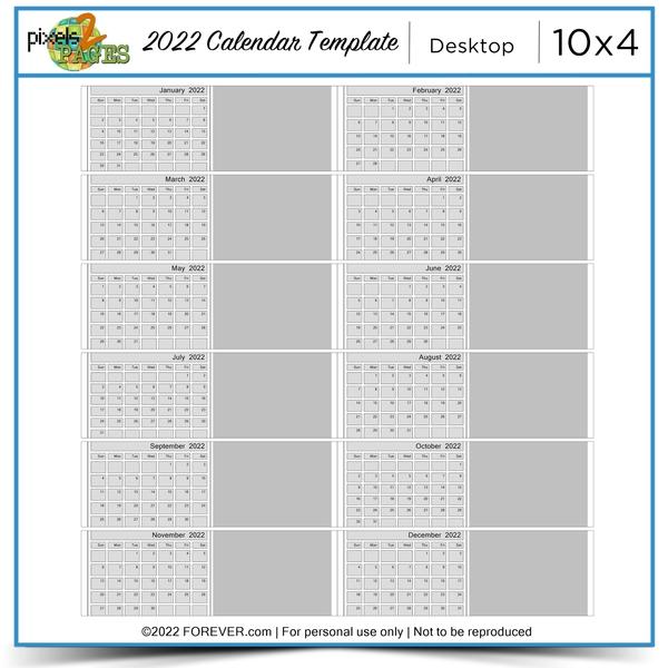 2022 Desktop Calendar Template Digital Art - Digital Scrapbooking Kits