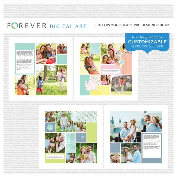 Follow Your Heart Pre-Designed Book Digital Art - Digital Scrapbooking Kits