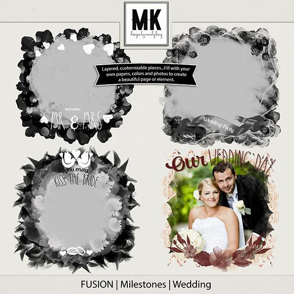 Fusion Milestones - Wedding Digital Art - Digital Scrapbooking Kits
