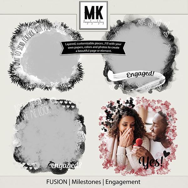 Fusion Milestones - Engagement Digital Art - Digital Scrapbooking Kits