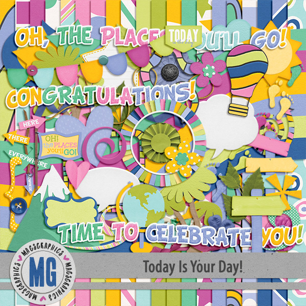Today Is Your Day Kit Digital Art - Digital Scrapbooking Kits