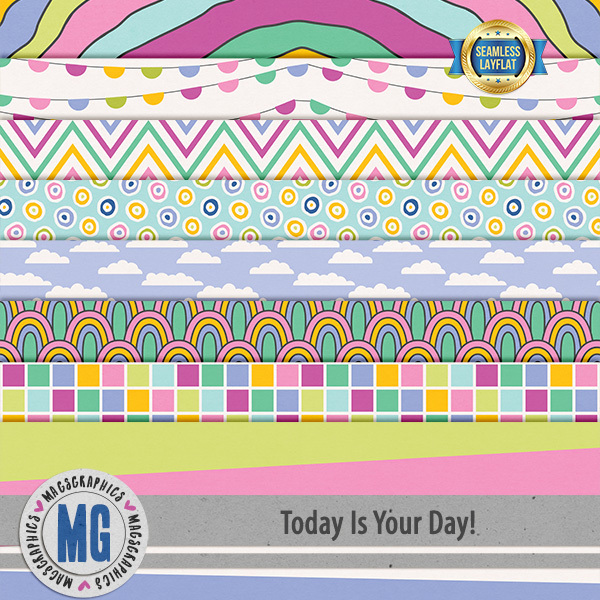 Today Is Your Day SLF Papers Digital Art - Digital Scrapbooking Kits