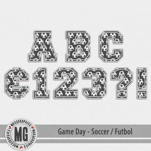 Game Day Soccer Alpha Digital Art - Digital Scrapbooking Kits