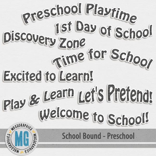 Preschool Bound Word Art Digital Art - Digital Scrapbooking Kits