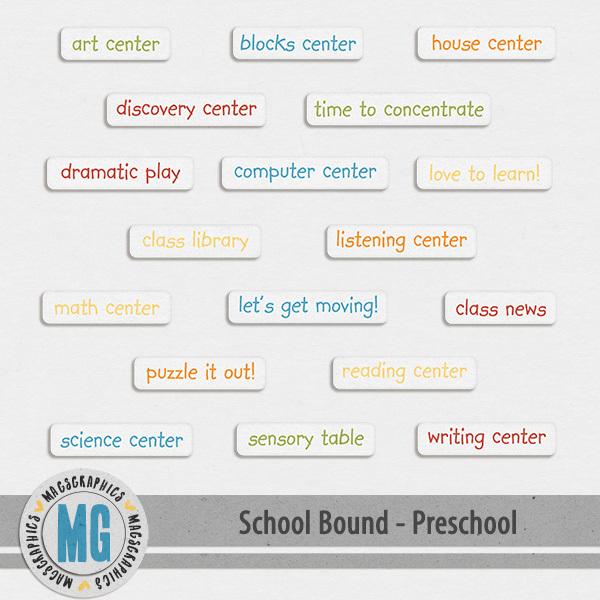 Preschool Bound Word Tags Digital Art - Digital Scrapbooking Kits